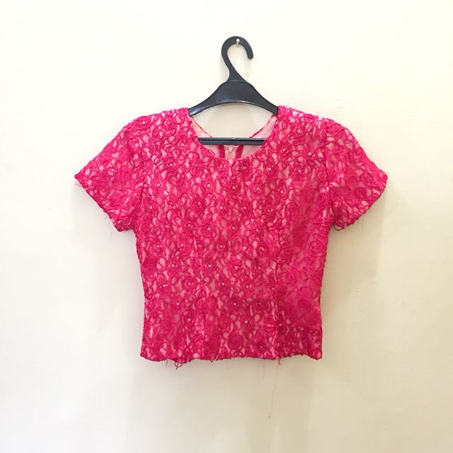 Pink brokat top