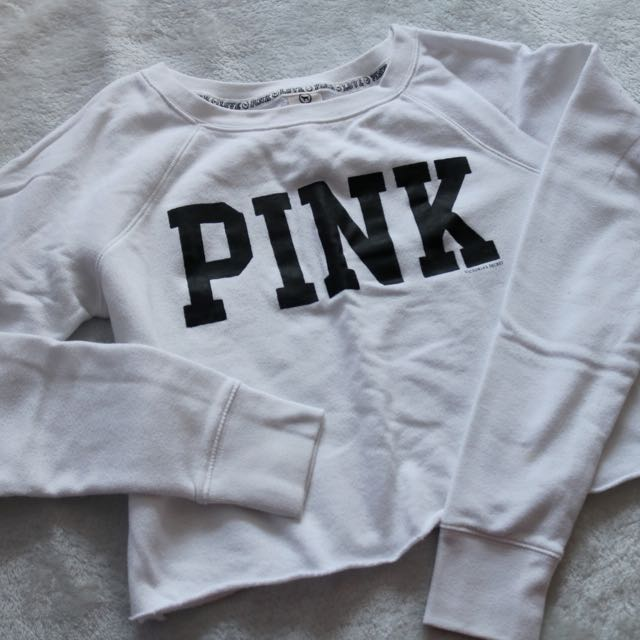 PINK White Crop Sweater