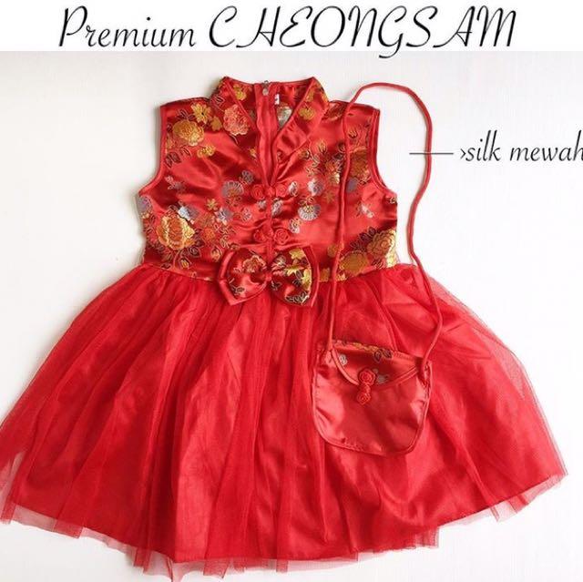 Premium  cheongsam dress cewek