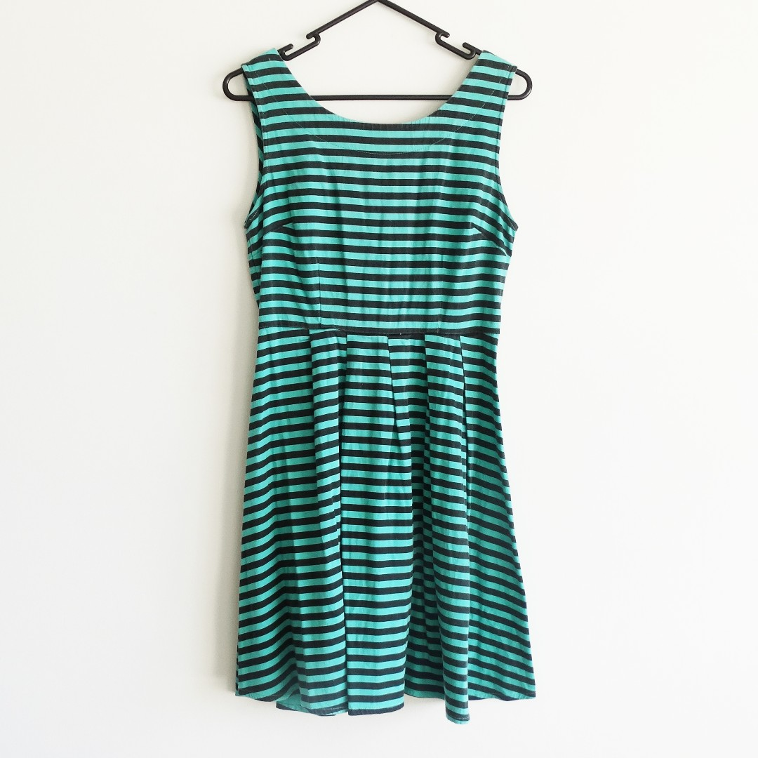 Princess Highway Size 8 Dress Blue and Green Stripe with Boat Neck and Low Back