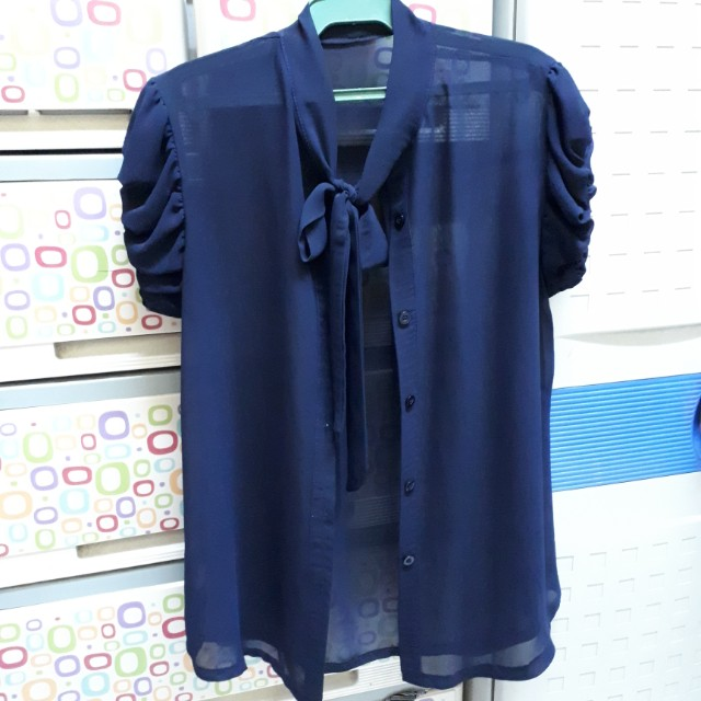 Pussybow Chifon Blouses (Blue and White)