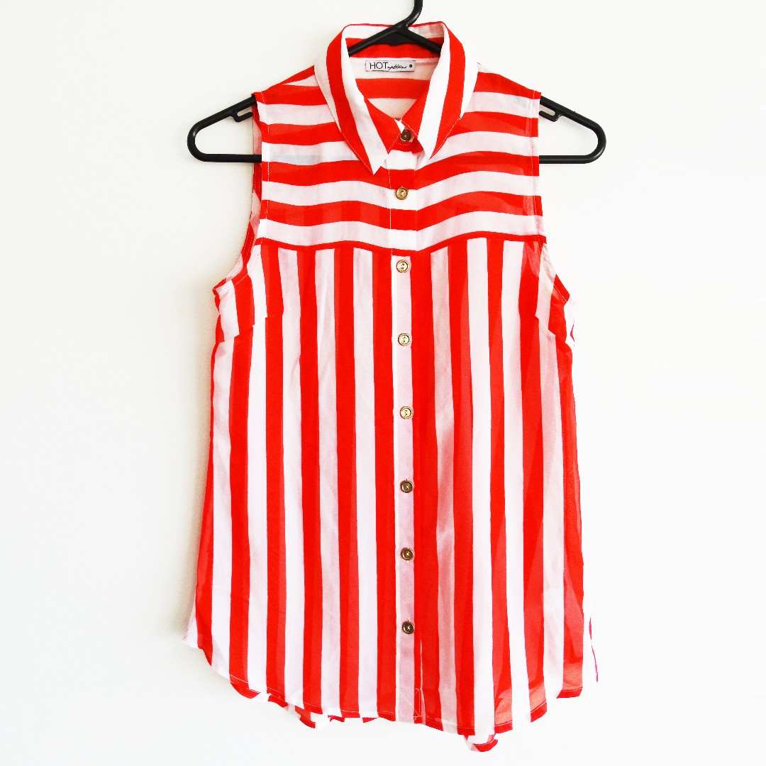 Red and White Stripe Sheer Button-up Blouse Size 8