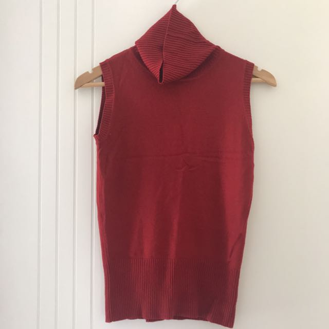 Red Turtle Neck Ribbed Sleeveless/ Vest
