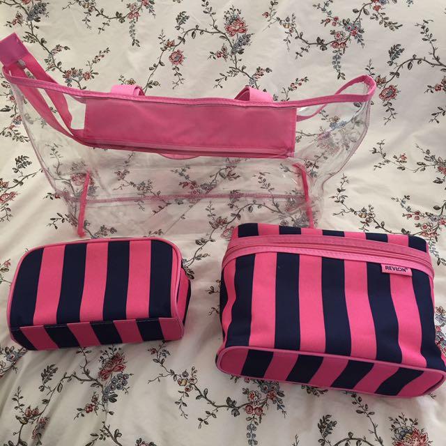 Revlon beach/makeup travel bag set
