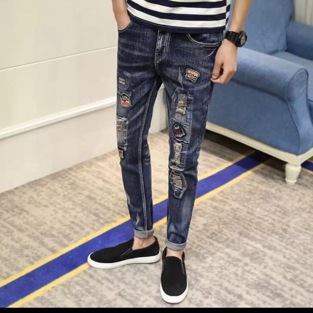 Ripped Jeans Sticker Pasted Jean Long Pants Swag Balmain Biker Jeans Hip-hop Dope