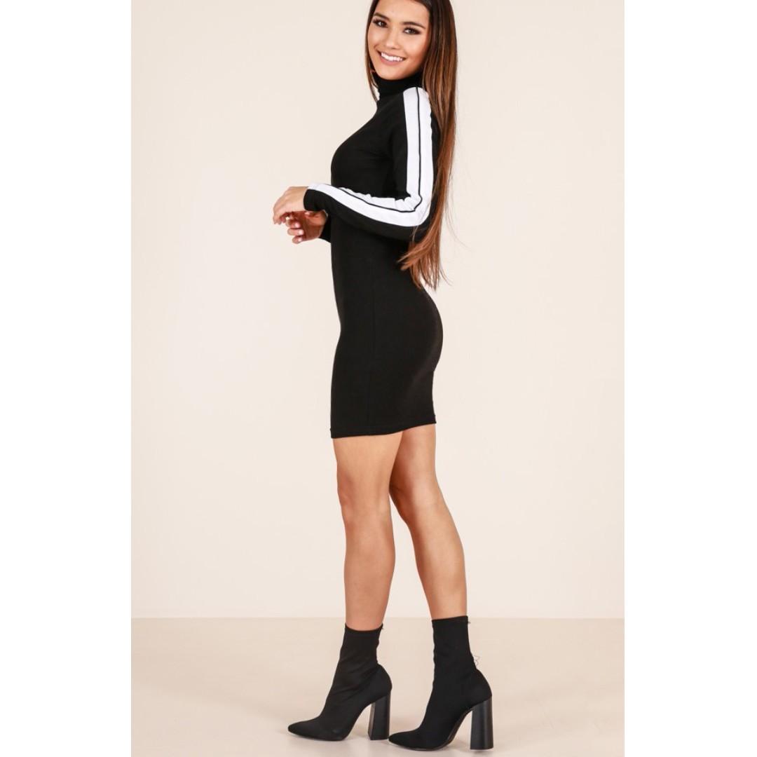 Showpo - Black/White Long Sleeve Knit Dress