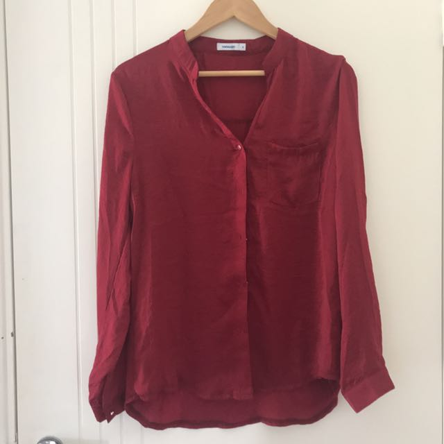 Silky Long Sleeve Burgundy / Maroon Blouse