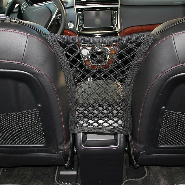 Stretchable Dog Car Barrier Mesh Storage Black