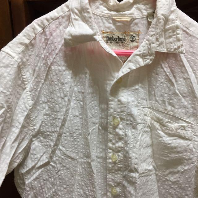 Timberland 夏日白色壓紋短袖襯衫