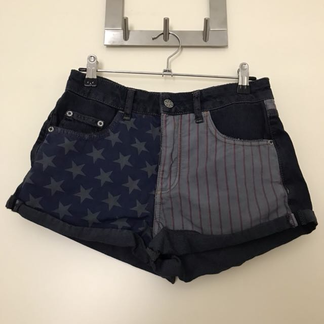 Topshop flag shorts
