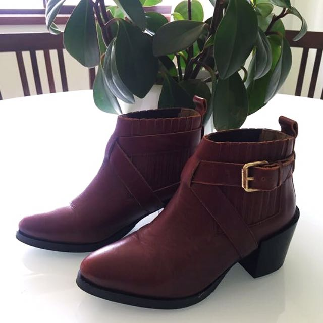 Topshop Red Leather Boots