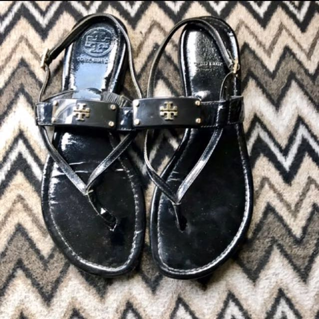 Tory Burch  Black Patient Leather Sandals Authentic