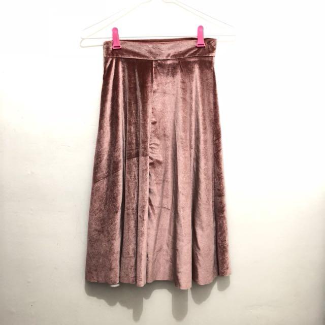 Velvet Pink Skirt || rok velvet pink rok import rok murah rok bagus