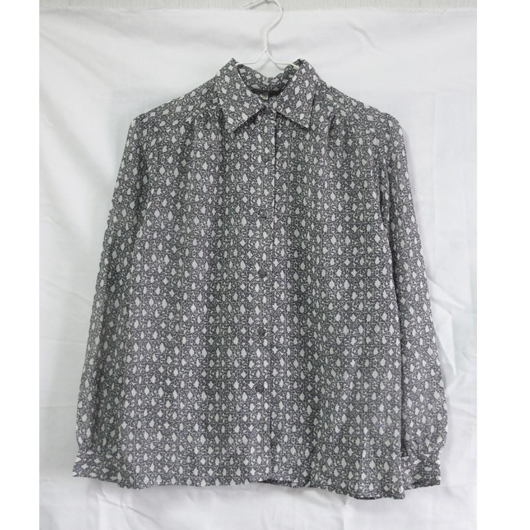 [保留中] vintage 古著 灰色質感圖騰襯衫