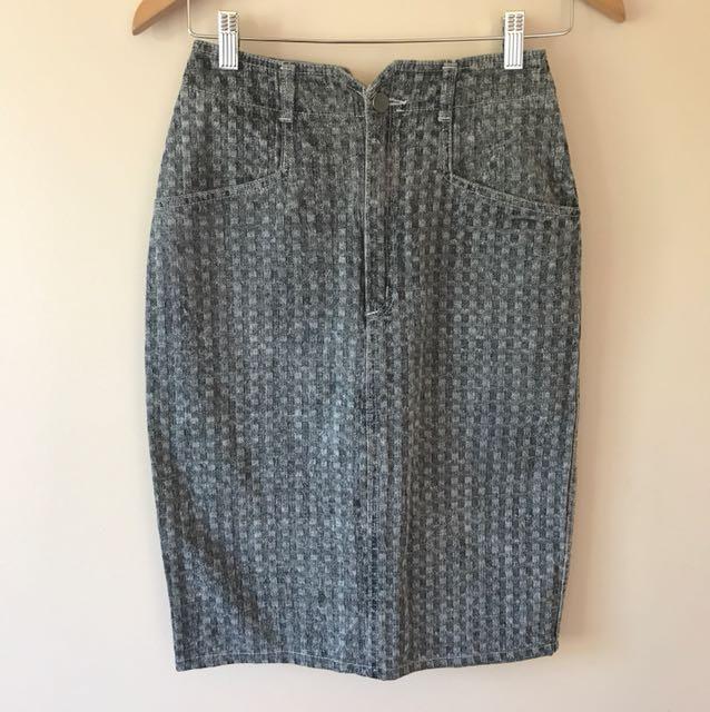 Vintage Grey Denim Skirt Levis