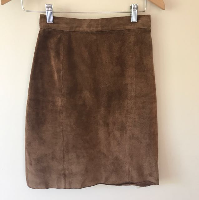 Vintage Suede Leather High Waisted Skirt