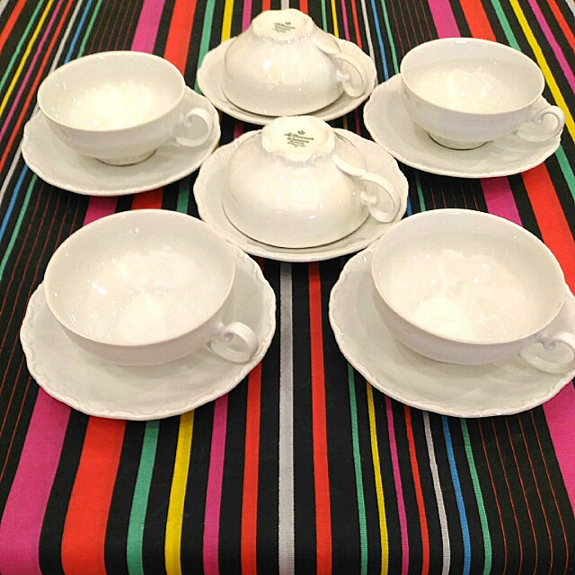 Vintage White Seltmann Weiden Bavaria W Germany Theresia Tea Cups and Saucers