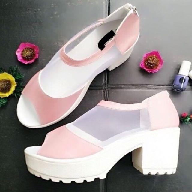 Wedges Pink Jaring Murah - Sepatu Heels Wedges Cream - Heels Wedges Putih Murah - Sepatu Main Lucu