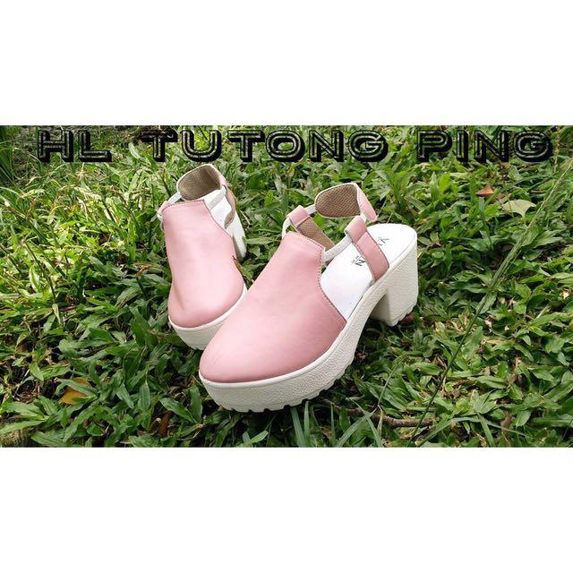 Wedges Pink Murah - Sepatu Wedges Putih Polos Tali - Heels Selubung Hitam - Sepatu Gaya Lucu