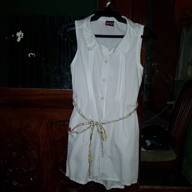 White Casual Button Down Dress