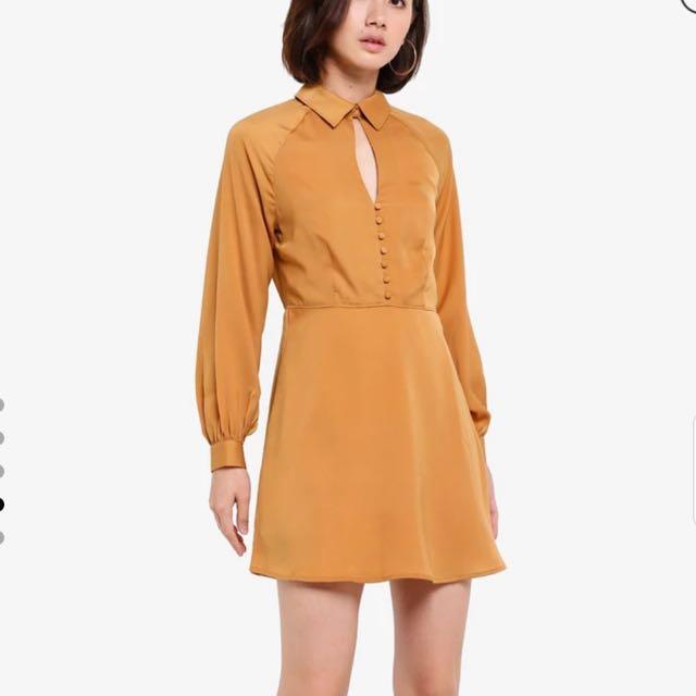 Zalora Long sleeve keyhole button dress Zalora
