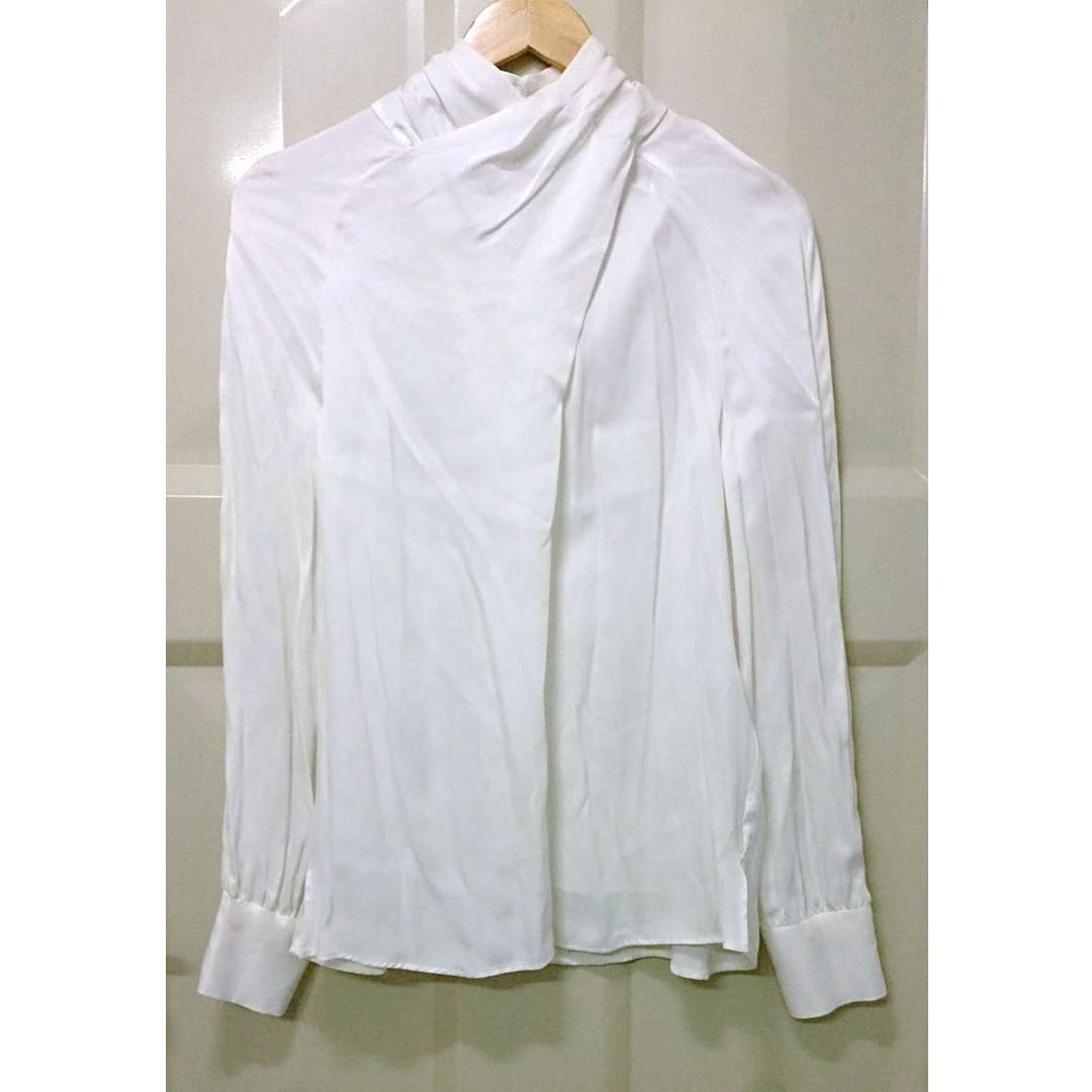 全新ZARA 小立領緞面滑布素色宮廷襯衫 白色S miia sisley mercuryduo dobe yourz