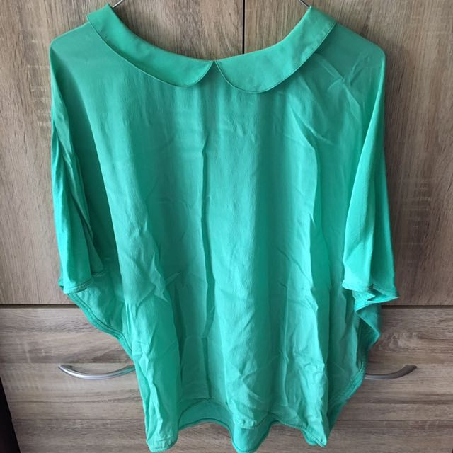 Zara Collection Mint Green Batwing Top
