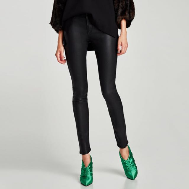 Zara Faux Leather mid rise trousers