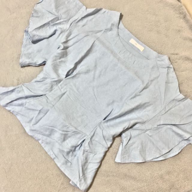 Zara inspired top - powder blue