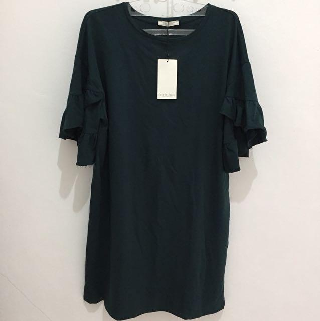 Zara Trafaluc Green Frilled Sleeves