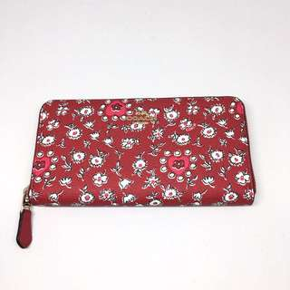 COACH Accordian Zip Wallet Wild Heart Printed Canvas 紅色心心銀包