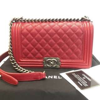 Authentic Chanel Boy Medium Red Caviar
