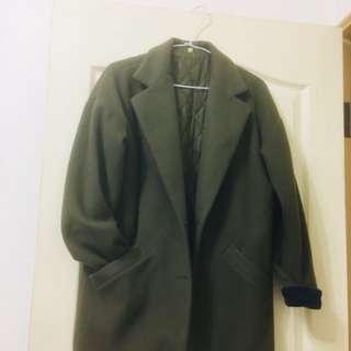 韓國墨綠色大衣