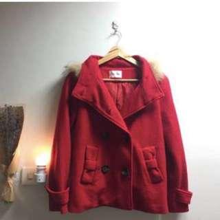 🚚 紅色大衣外套