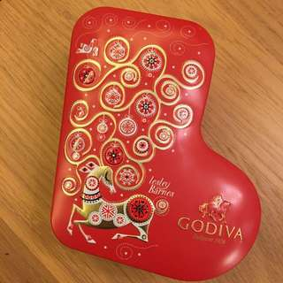 GODIVA christmas stocking tin box 95g