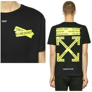Off-White Fire Line Tape T-Shirt -