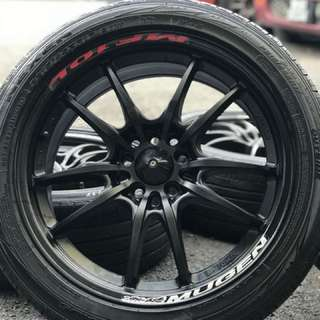 Mugen mf10 17 inch sports rim civic fb tyre 80%