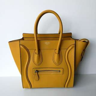 Authentic Celine Micro Luggage Mustard