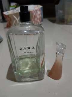 Zara perfume. Apple juice  + kenzo mini bottle