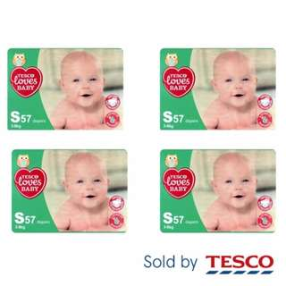 4 x Tesco Loves Baby S57 (3-6kg) Disposable Diapers