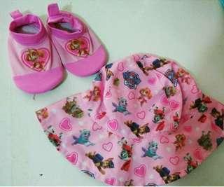 Pink Swim Hat & Aqua Socks
