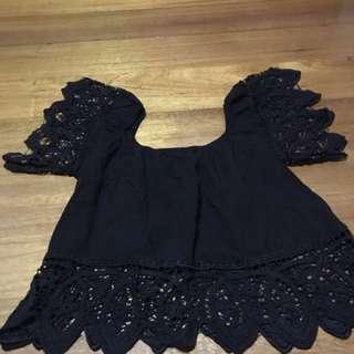 Unbranded - Black Lace Offshoulder