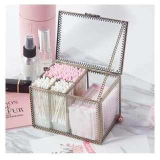 Po* Make Up Organizer 14 x 10 x 10cm Retro glass makeup cotton storage box