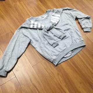 韓版條紋披肩衛衣