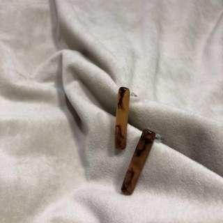 韓國直條個性琥珀耳環