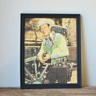 Vintage Original 1950s Framed Magazine Portrait - Roy Rogers