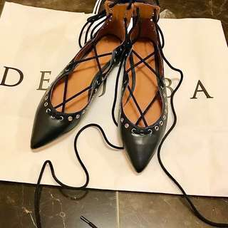DECJUBA | BNWT 'NATASHA' LEATHER LACE UP FLATS-37
