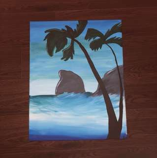 Palm tree ocean painting on canvas