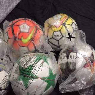 Nike and adidas soccer balls