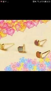 【件件8蚊】日韓國髮飾品 可愛甜美彩色正方形幾何造型耳針耳環组合 四件套